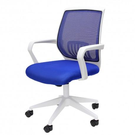 Silla Officemax Secretarial Río Mesh Tela Blanca con Asiento y Respaldo Azul - Envío Gratuito