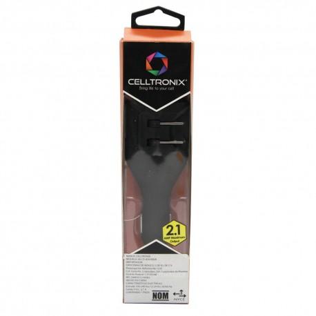 Cargador USB Dual AC y DC Negro 2.1Amp - Envío Gratuito