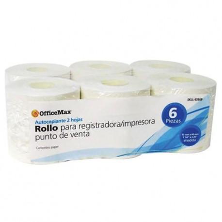Rollo Officemax Autocopiante 57mm Ancho X 60mm Diametro 6 Piezas - Envío Gratuito