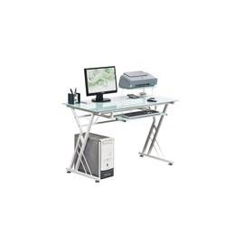 Escritorio Officemax de Trabajo Minton Cristal Templado Blanco