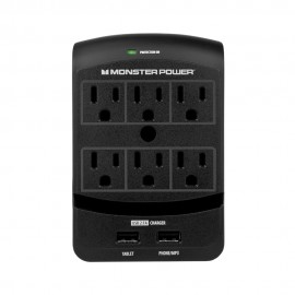 Conector de Pared Monster 6 entradas y 2 para cable USB