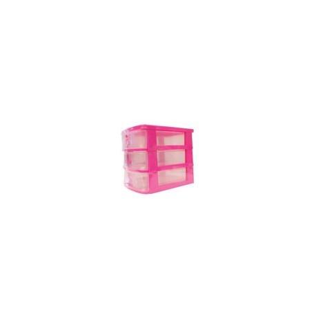 Mini Cajonera Escritorio 3 Niveles Rosa/Azul - Envío Gratuito
