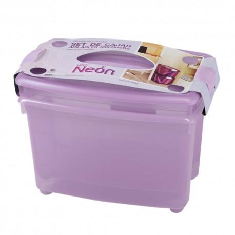 Caja de Plastico Duopack 23 Litros Color Lila - Envío Gratuito
